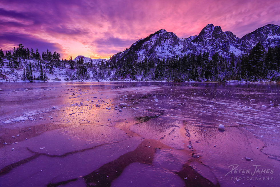 Dramatic Dusk on Frozen Picture Lake