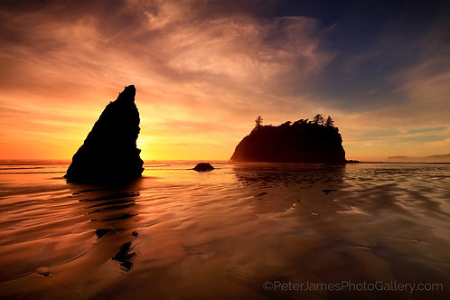 Low Tide Sunset At Ruby Beach