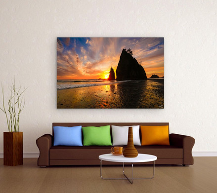 Living room with Landscape Photography