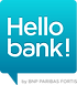 This is the logo of Hello bank!, a digital direct bank owned by BNP Paribas that operates in France, Belgium, Germany (using the name Consorsbank), Italy, Czechia and Austria.