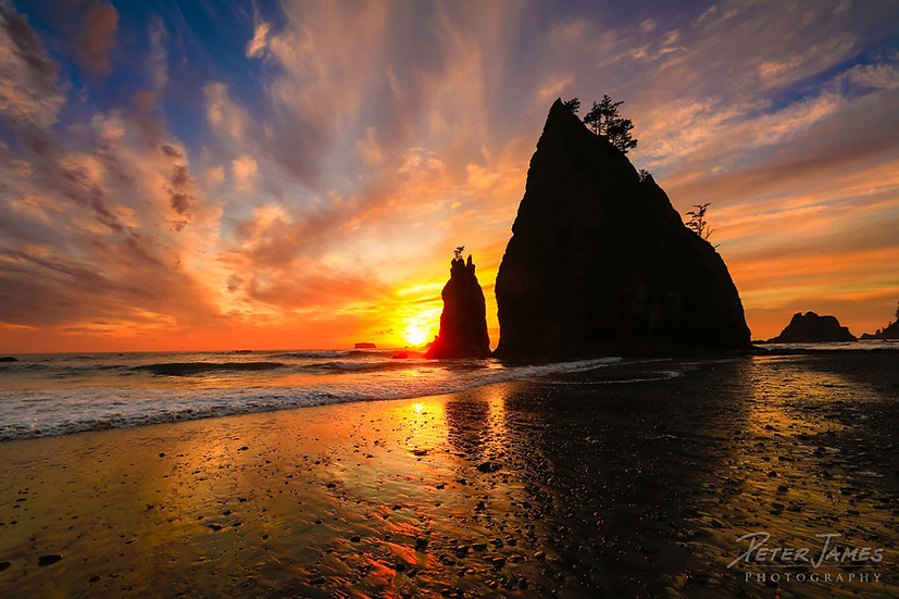Flaming Sky Sea Stack Sunset