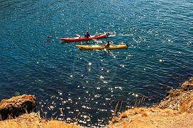 Kayaking on Bellingham Bay WA Stock Photography