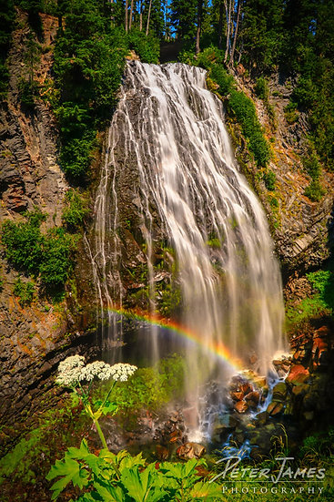 rainbow at Narada Falls photography prints for sale