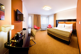 This is a view of a Superior Double Room at Hotel Grand Majestic Plaza Prague.