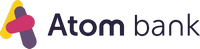 This is the logo of Atom bank, a digital financial company and challenger bank providing banking services through a smartphone app.