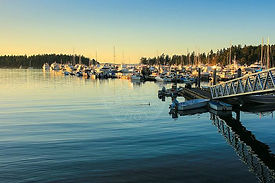 Stock Photography of Bellingham Bay Harbor with Sailboats