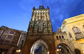 This is the beautiful gothic Powder Tower, adjoining the Municipal House in Náměstí Republiky