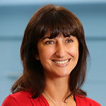 This is a headshot of Maria Harris, Director of Intermediary Lending at Atom bank.