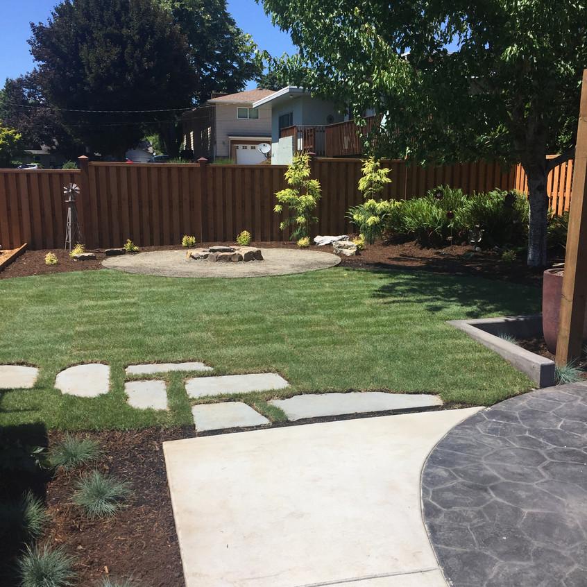 Blue stone path through the lawn