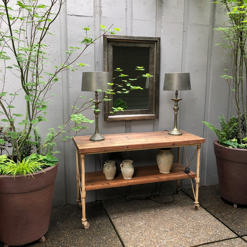 Outside console with metal mirror