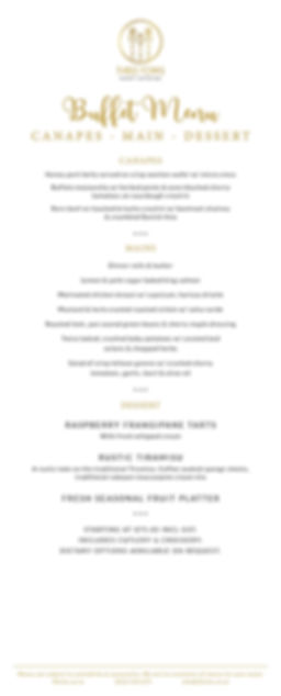 Three Forks eventcatering- Sample Buffet Wedding Menu