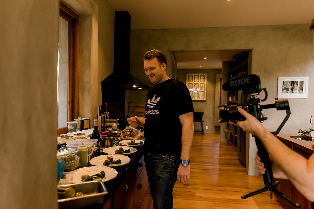 Sam immers, Executive chef from The Verandah plating mains - Hollywood themed catering