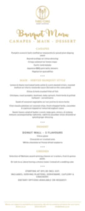 Three Forks eventcatering- Sample Banquet Wedding Menu