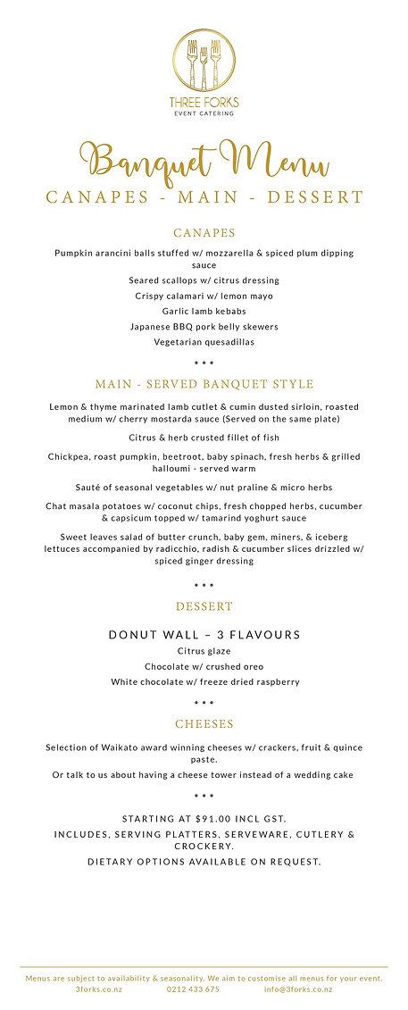 Three Forks eventcatering- Sample Banquet Wedding Menu