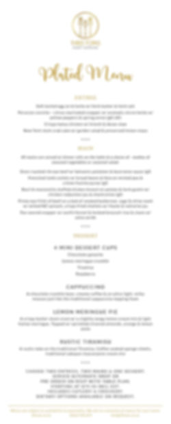Three Forks eventcatering- Sample plated Wedding Menu
