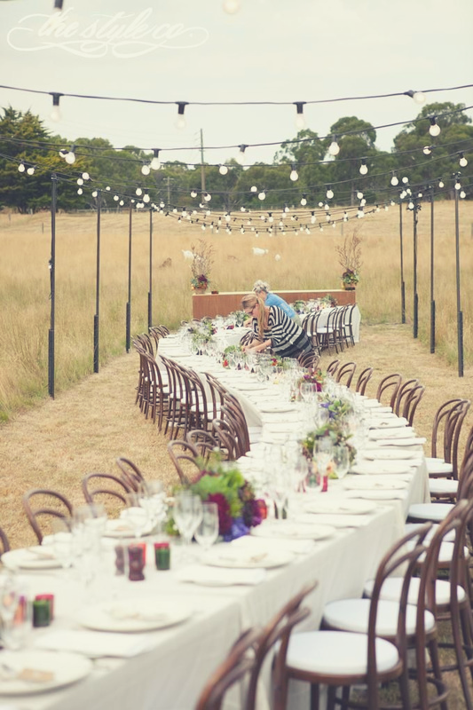Wedding catering in a field