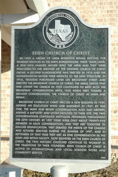 Eden Church of Christ Marker