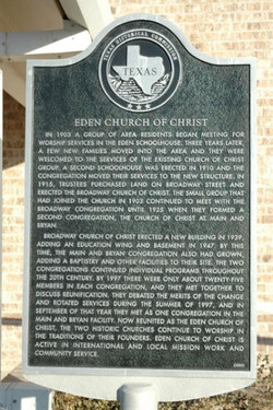 Eden Church of Christ Marker