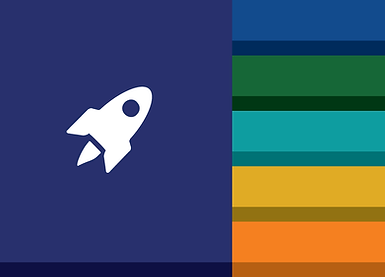 NNSA Branding Suite Preview of Color Palette & Rocketship Icon