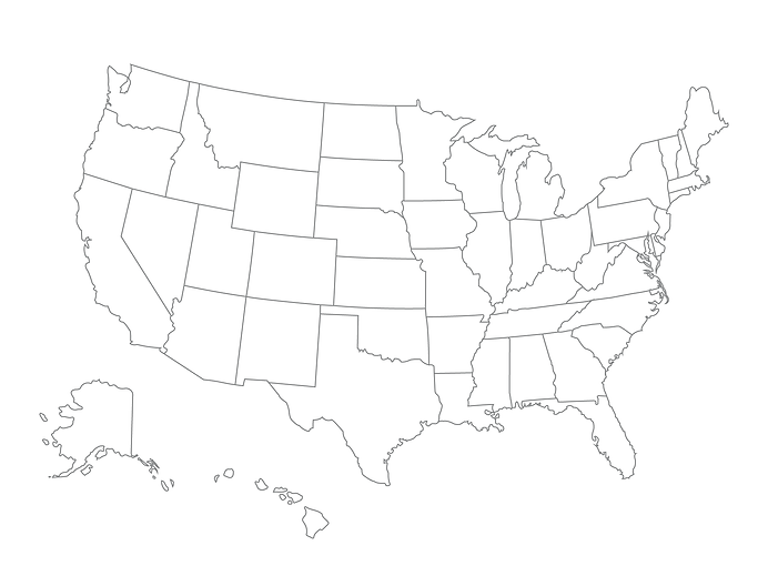 US Map showing Team b. Strategy + Employee Locations including TX, MD, DC, UT, and FL