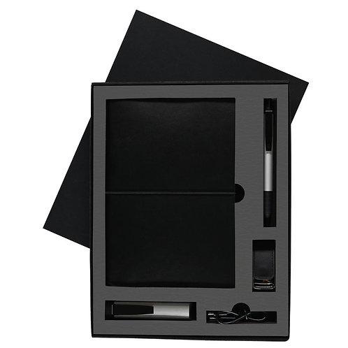 Набор Steel: универсальное зарядное устройство, блокнот, USB flash, ручка