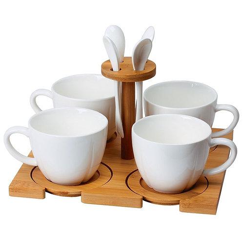 Чайный набор Ostro: 4 чайные пары, 4 чайные ложки с подставкой