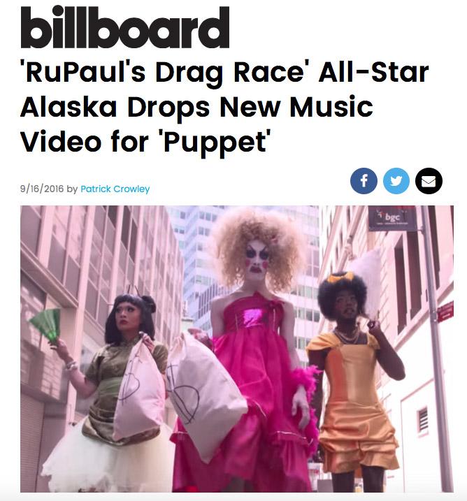 "Alaska's ""PUPPET"" Video on BILLBOARD"