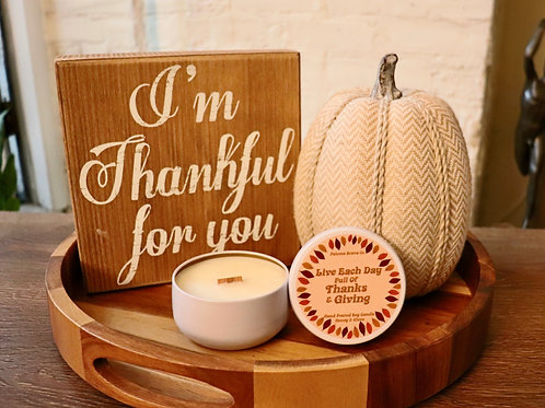 Live Each Day Full of Thanks & Giving   Honey & Clove  Soy Candle