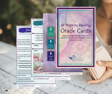 10 Steps to Reading Oracle Cards spread.