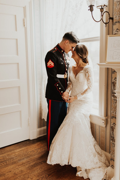 marine wedding long sleeve lace wedding dress