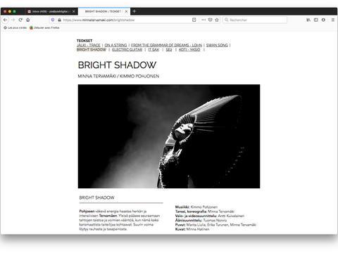 Bright Shadow: Choreography page / Brieght Shadow: Teossivu / Page Choréographie