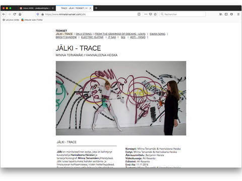 Trace: Choreography page / From The Grammar of Dreams: Teossivu / Page Choréographie