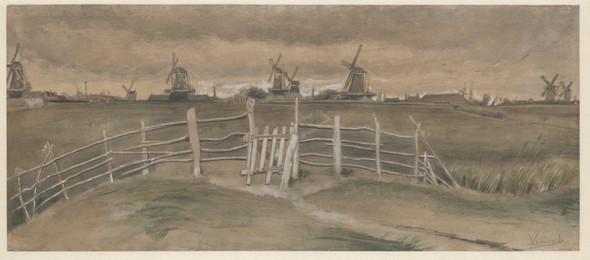 Vincent van Gogh: Tuulimyllyjä Dordrechtissa (Weeskinderendijk), Väderkvarnar i Dordrecht (Weeskinderendijk), Windmills at Dordrecht (Weeskinderendijk), 1881