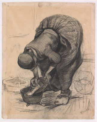 Vincent van Gogh: Pataa puhdistava maalaisnainen, Bondkvinna rengör en gryta, Peasant woman cleaning a pot, 1885