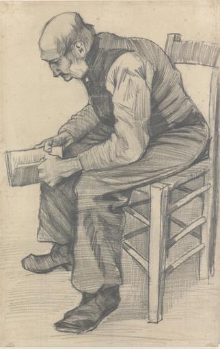 Vincent Van Gogh: Lukeva vanha mies / Läsande gammal man  / Old man reading, 1882