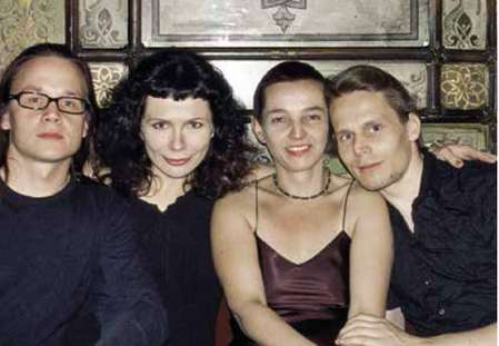 Mikki Kunttu, Iiris Autio, Marita Liulia & Tero Saarinen in Venice celebrating the premiere of HUNT, 2002