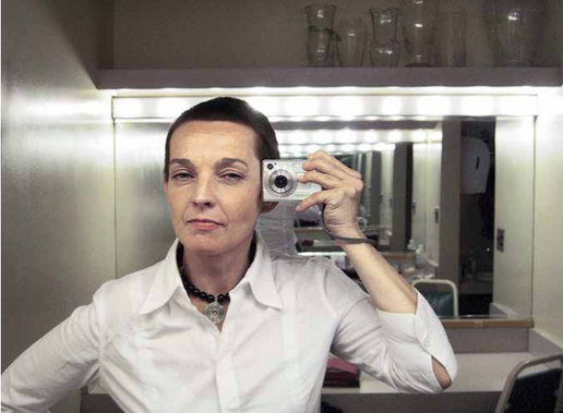 Self-portrait in the back room of a theater on a tour of the United States, The Joyce Theater, New York, 2004