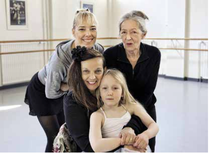 Minna Tervamäki, Marita Liulia, Marianne Möller & Vilma Kolehmainen while filming Swan Song at the Alexander Theater in Helsinki, 2011