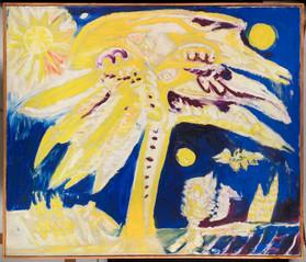 Carl-Henning Pedersen: Keltainen aurinkokuva / Gul solbild  / Yellow sunpicture