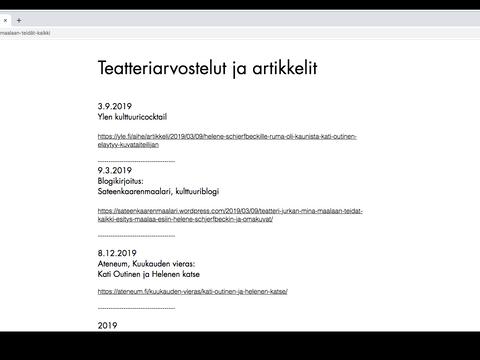 Critiques de théâtre / Teatteriarvosteluja / Critiques de théâtre