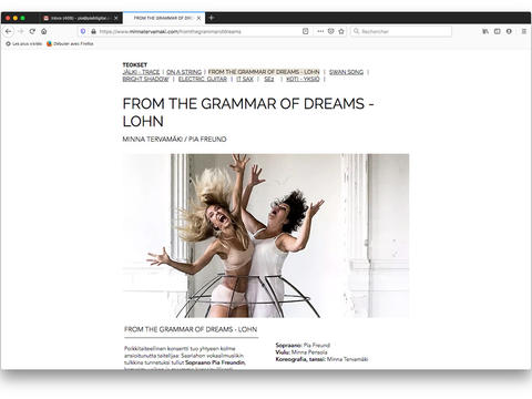 From The Grammar of Dreams: Choreography page / Teossivu / Page Choréographie