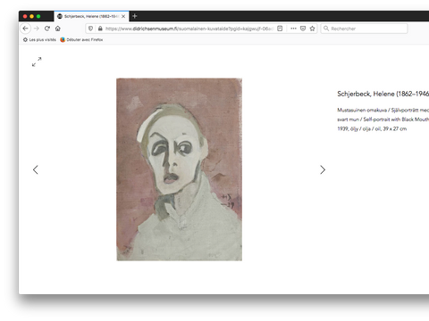 Artwork page, Helene Schjerfbeck, self portrait