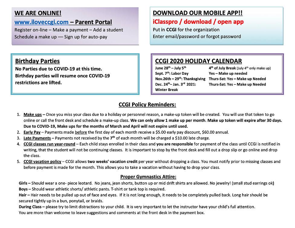 2020 CCGI FALL Class Schedule  (dragged)