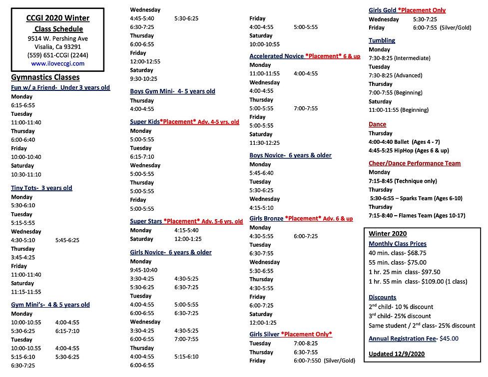 2020 WINTER Class Schedule Updated Dec 9