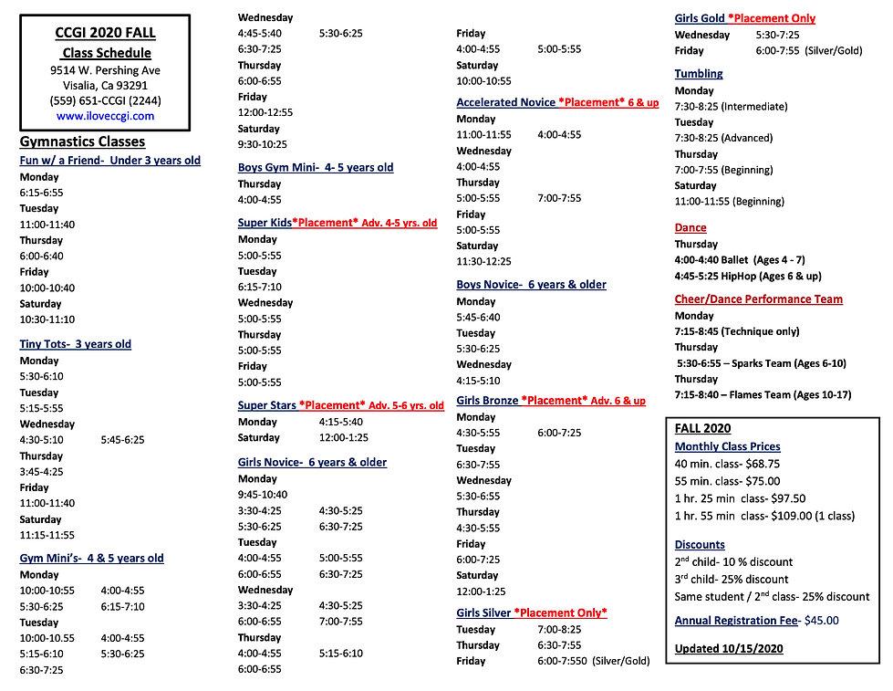 2020 Fall Class Schedule Updated October