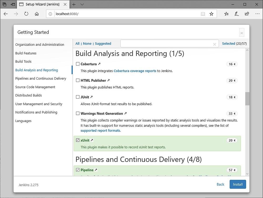 Jenkins Browser Setup Wizard - configure plugins