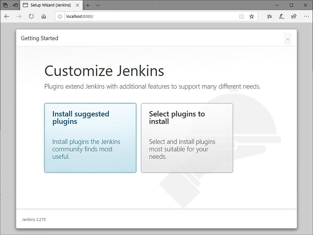 Jenkins Browser Setup Wizard - customize jenkins
