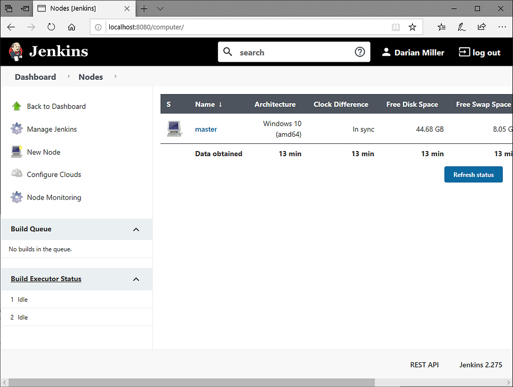 Jenkins Manage Nodes and Clouds screen