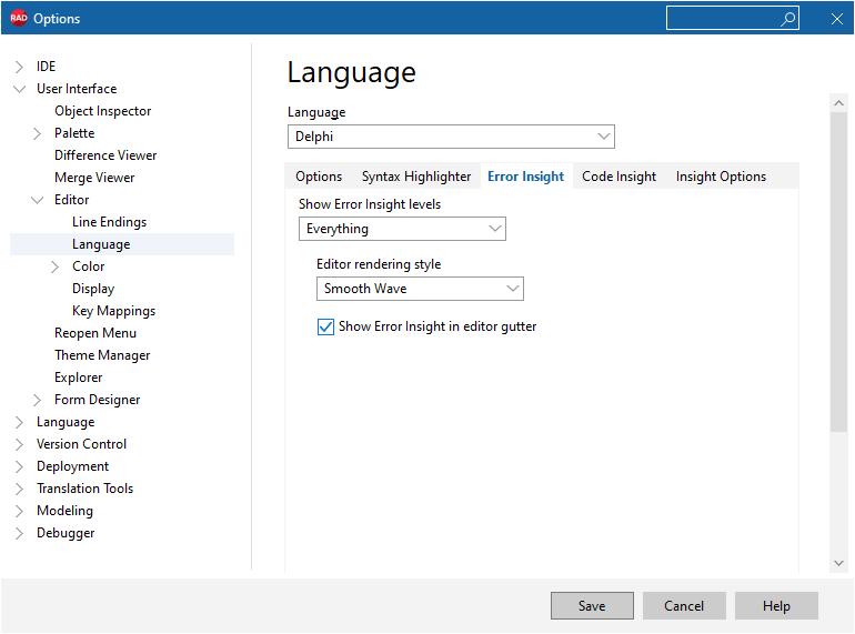 Delphi 10.4.2 Error Insight configuration page
