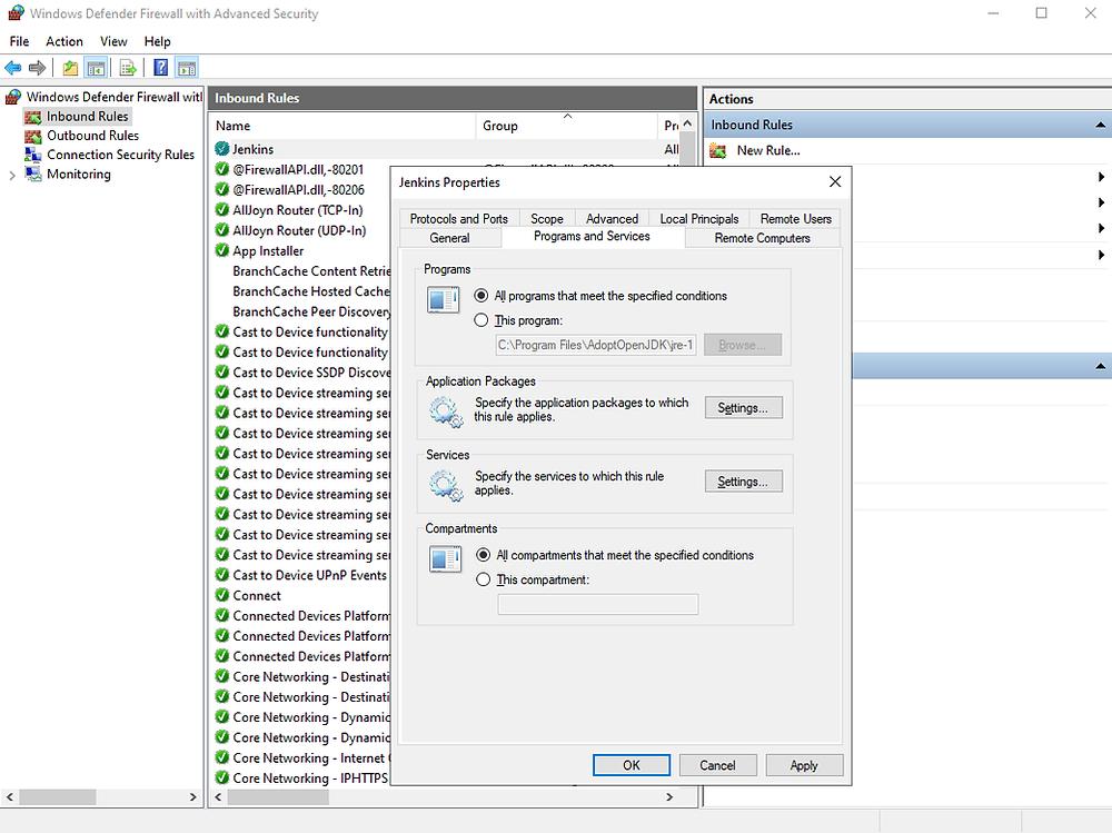 Windows Defender Firewall jenkins rule configuration